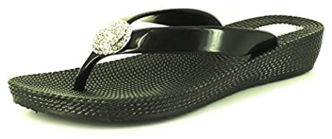 New Ladies/Womens Black Soft Jelly Flexi Flip Flops/Toe Post Sandals - Black - UK SIZE 8