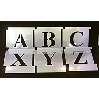 50mm Professional Interslotting Stencil Kit. Times New Roman, Upper Case. Made from 125micron Mylar Polyester. Alphabet-Schablone. Alphabet-Vorlage