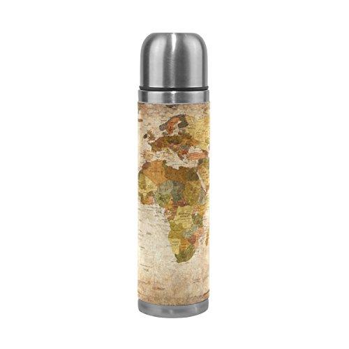 TIZORAX Vintage alte Weltkarte doppelwandige Vakuum Cup Isolierte Edelstahl-Flasche Travel Becher Thermos Kaffee Tasse 17oz