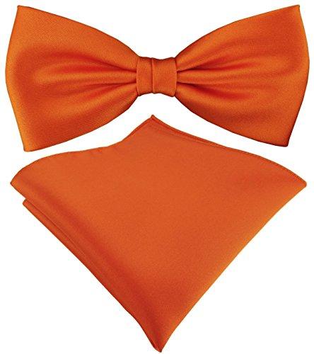 TigerTie Satin Fliege Einstecktuch in orange Uni einfarbig + Aufbewahrungsbox