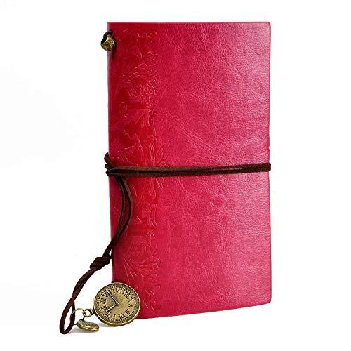 YUHUS Home Cuaderno de Estilo Vintage de Cadena de Cuero de PU Recargable del Viajero Regalo para Hombres Mujeres Estudiantes