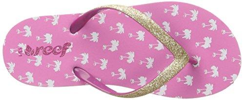 Reef Little Stargazer Prints, Flip-flop fille Rose (Pink Palms)