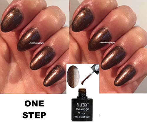 Bluesky OS104 One Step Chocolate Brown Shimmer Nagellack, 10 ml, UV LED Soak Off, 10 ml