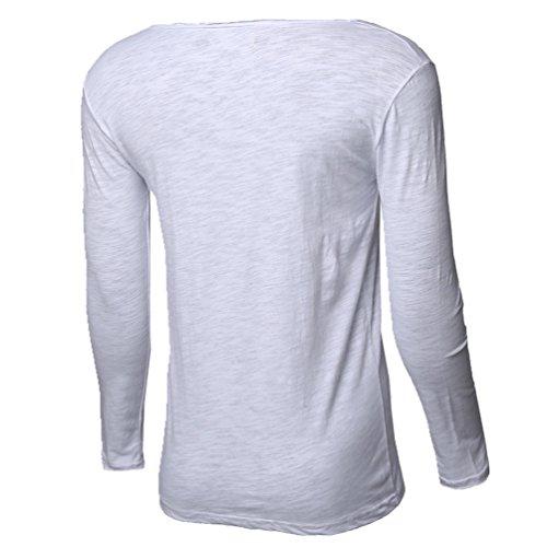 CHENGYANG Herren Slim Fit Langarm T-Shirt Rundhals Tee Shirt Langarmshirt Einfarbig Weiß