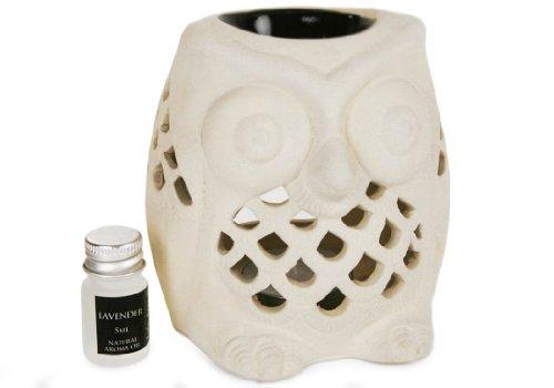 Brûleur huile essentielle Hibou Coffret cadeau Lavande Stoneware (12cm x 8cm x 8cm)