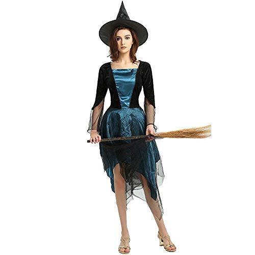 Fashion-Cos1 Frauen Kostüm Gothic Vampire Queen Cosplay Halloween Outfit Böse Hexe Mädchen Karneval Sexy Kostüme (Color : Blue) (Halloween Böse Make-up Augen)