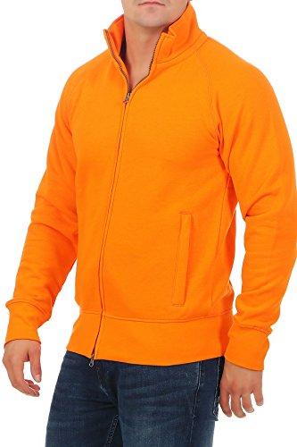 Herren Sweatjacke ohne Kapuze Zip-Jacke mit Kragen, Größe:S, Farbe:Orange - 2