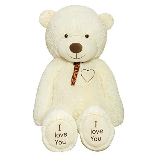 TEDBI Teddybär 220cm | Farbe Creme | Groß Teddy Bear Plüschbär Stofftier Kuscheltier Plüschtier XXL Teddi Bär mit Stickerei I Love You Ich Liebe Dich