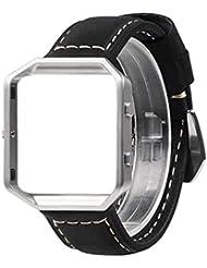 Für Fitbit Blaze Armband mit Metallrahmen, Wearlizer Ersatz Uhrenarmband, Premium Lederarmband für Fitbit Blaze