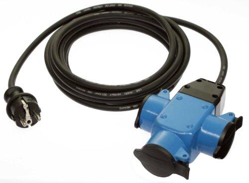 as - Schwabe 62058 3-fach Gummi-Verteilersteckdose, blau, 4,5m H07RN-F 3G1,5, schwarz, IP44 Gewerbe, Baustelle
