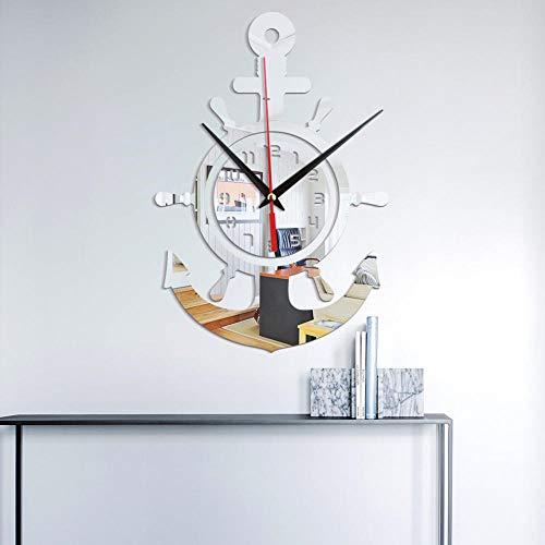 Anker Steuermann Seemann Piratenschiff Acryl Spiegel Wanduhr Persönlichkeit 3D Wanduhr Interstate Mediterranen Stil Silber