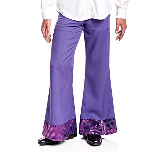 Kostümplanet® Disco Hose lila Herren Disko Kostüm 70er Jahre lilane Schlaghose mit Pailletten Größe (Kostüme Hose Lila)