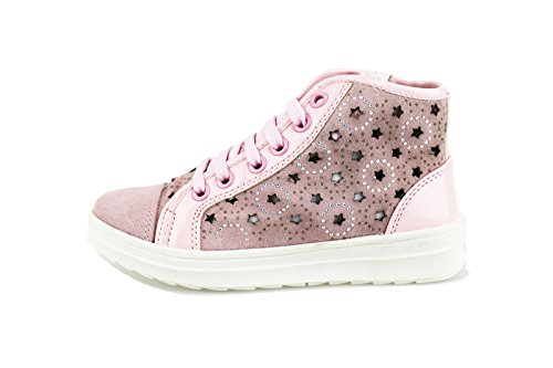 DIDI BLU sneakers bambina bianco grigio / rosa / pelle camoscio (34 EU, Rosa)