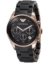 Emporio Armani Sportiva AR5906 - Reloj analógico de cuarzo para mujer, correa de acero inoxidable color negro (cronómetro)