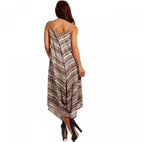 Damen Overall Oversized Jumpsuit Harem Stil Strandoverall Latte