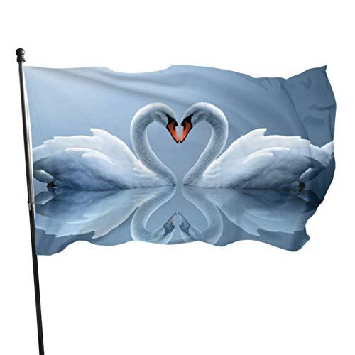 WDDHOME Liebe unter den Vögeln Zwei weiße Schwäne See HD Wallpaper Party Dekoration Fahnen drucken Flagge 3 x 5 Fuß lebendige Farben Qualität Polyester und Messing Ösen