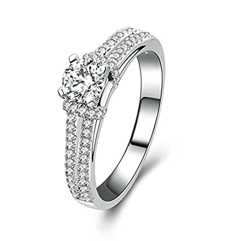 Daesar Sterling Silver Rings Womens Engagement Rings Custom Ring 4 Prong Cubic Zirconia Ring Size:S