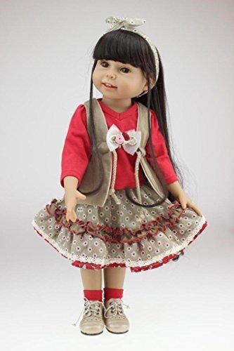 Nicery Encantador Niña Juguete Muñeca Alta Vinilo 18 pulgadas 45cm Natural  Móvil Sonreír Princesa Vestido rojo cb9ffd71c91