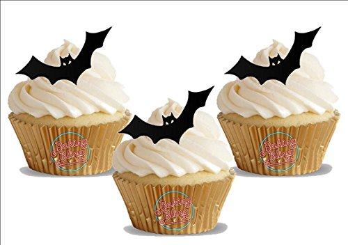 Baking Bling Kuchendekoration Halloween Fledermaus Silhouette 12 Stehende Essbare Premium Waffel Papier Kuchenauflagen