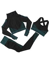 Odoukey Trajes de yoga para mujer, traje de yoga de manga larga, abrigo, chaleco, polainas, 3 piezas, trajes de deporte, fitness, yoga, correr, atletismo, traje de gimnasio (verde oscuro, M)