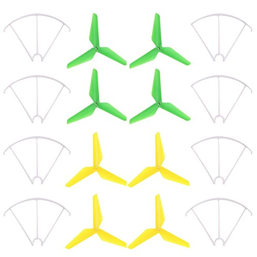 Syma Propellers, elecfan 3-blade 3-leaf Upgrade Propellers & Prop Guards for Syma X5C-1 X5A X5C X5S X5SC X5W X5SW JJRC H5C Skytech M68R Quadcopter (Yellow and Green) (Prop Mikrofon)