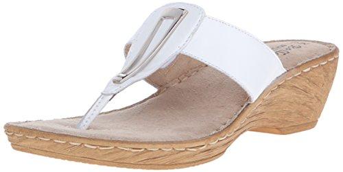 Bella Vita Sulmona Femmes Large Cuir Sandales Compensés white