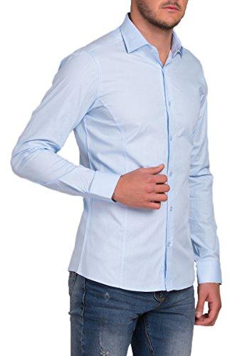 REDBRIDGE Langarm Herren Hemd Basic Business Anzug Freizeit Slim Fit R-2111-A Hellblau