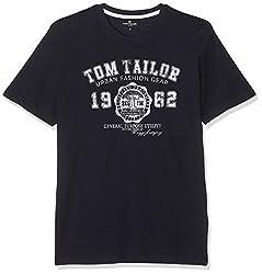 TOM TAILOR für Männer T-Shirts/Tops T-Shirt mit Logo-Print Knitted Navy, XXXL