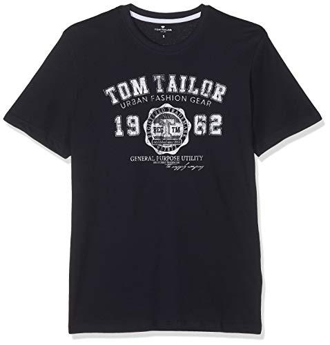 TOM TAILOR für Männer T-Shirts/Tops T-Shirt mit Logo-Print Knitted Navy, XL