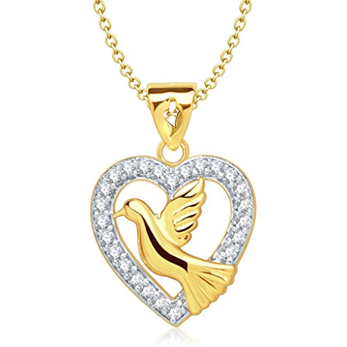 Vina Jewels Valentine Pigeon Heart Shape Gold and Rhodium plated Pendant for Women - P1141G [VKP1...