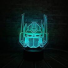 Luz de noche 3d Dibujos animados 3D LED Lámpara USB Transformers Máscara Decoración Último Caballero 7