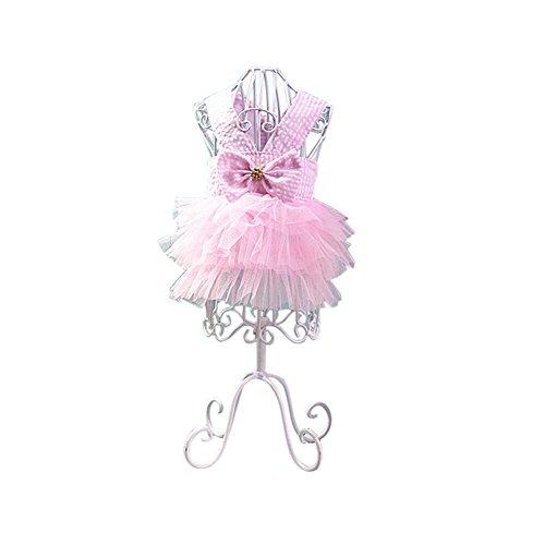 NIBESSER Teddy Chihuahua Hunde Prinzessin Kleid mit Schleife Gestreifte Hund Rock Prinzessin Spitze Kleidung Frühling Sommer Kostüm Bekleidung für Kleinen Hunde - Gestreifte Spitze