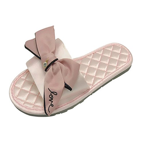 Iangl pantofole da donna estiva da donna fiocco in raso fondo piatto antiscivolo rimorchio fresco per la casa 37-38 (medio) fiocco a righe rosa