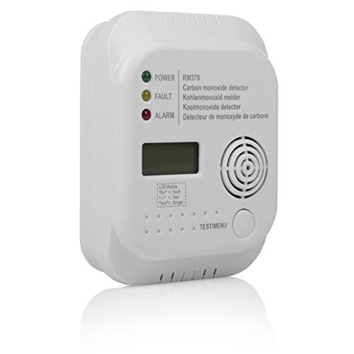 Smartwares 10.029.25 RM370 Kohlenmonoxid Melder mit Display und Temperaturanzeige, Prüftaste, 1.5 V, 1 Stück