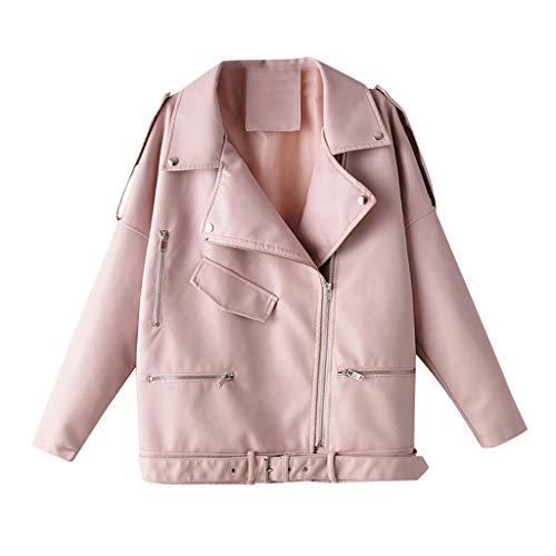 Floweworld Damen Lederjacke Wintermode Langarm Reine Tasche Reißverschluss Mantel Leder Moto Biker Jacke Outwear Frauen Casual Mäntel Moto Biker Jacke