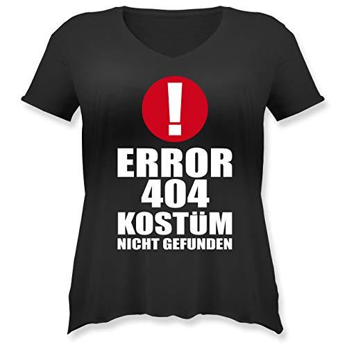 Karneval & Fasching - Error 404 Kostüm Nicht gefunden - M (46) - Schwarz - JHK603 - Weit geschnittenes Damen Shirt in großen Größen mit V-Ausschnitt