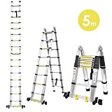 Fixkit 5M Escalera Telescópica de Aluminio Portátil Multiuso con Barra de Balance...