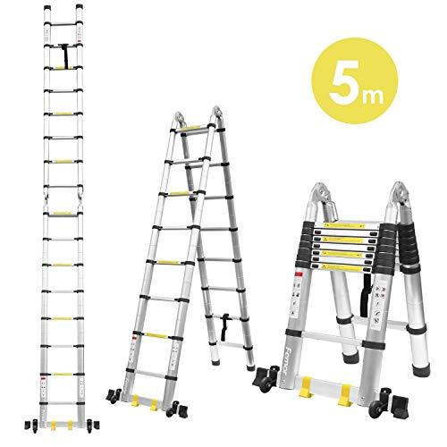 Fixkit 5M Escalera Telescópica de Aluminio Portátil Multiuso con Barra de Balance Antideslizantes (150 KG, 16.4FT, Extensible, Plegable)