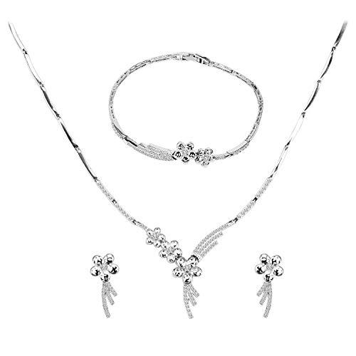 BiBeary Zirkon elegant Party Fashion Pendant Halskette Ohrringe Schmuck Set für Damen