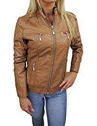 Giubbotto Giacca Donna Ecopelle Beige Giubbino Giacchetto Casual Simil Pelle 7629eeadd4d