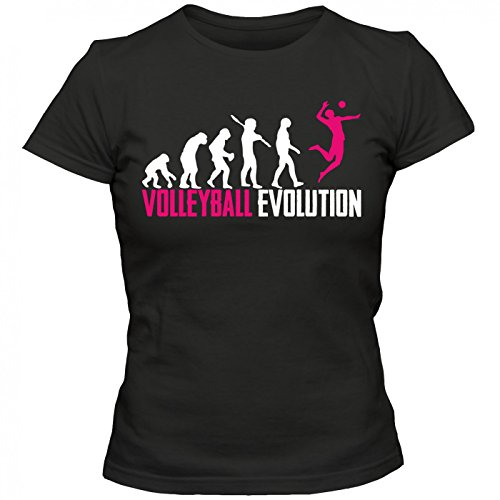 Volleyball Evolution #1 T-Shirt | Beachvolleyball | Teamsport | Teamplayer | Frauen | Shirt Schwarz (Deep Black L191)