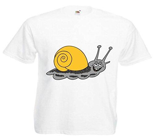 Motiv Fun T-Shirt Lachende Schnecke Cartoon Spass Kult Film Serie Motiv Nr. 12558 Weiß