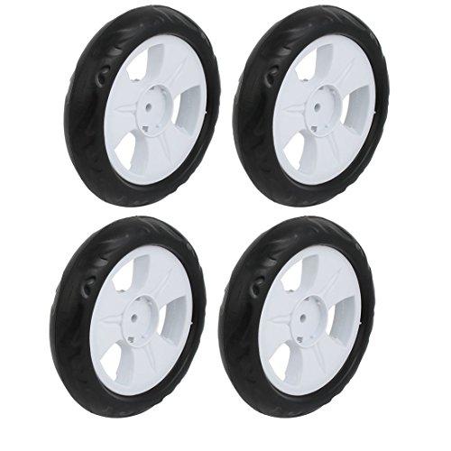 Sourcingmap 4pz 140mm diametro plastica ruota singola passeggino puleggia rullo laminazione bianco 6x22mm