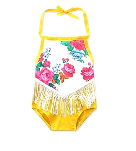 CuteRose Baby Little Girl One Piece Flower Print Romper Sunsuit Jumpsuit Yellow 90 Little Angels Flower Girl