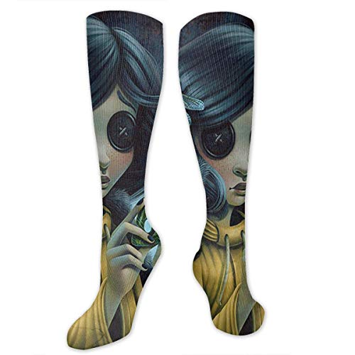 ryudryu Knee High Socks Halloween Button Girl Black Cat Compression Socks Sports Athletic Socks Tube Stockings Long Socks Funny Personalized Gift Socks for Women Teens Girls -