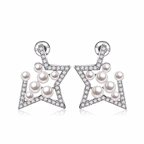 Boucles d'oreilles boucles d'oreilles Pearl Shell ou zircon Earrings,Platinum