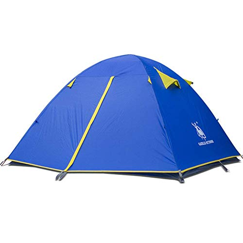 Yunyisujiao Zelt, Ultraleicht, für 3-4 Personen, mit Klebstoff und Aluminiumstangen-Zelt für Outdoor-Wind- und Regen-Atmungsaktivität. Orange