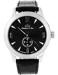 Lindberg & Sons Reloj automático para hombre con esfera negra pantalla analógica y negro correa de piel hq22014s