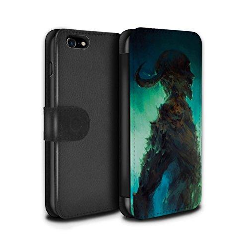 Offiziell Chris Cold PU-Leder Hülle/Case/Tasche/Cover für Apple iPhone 7 / Dunkelste Stunde Muster / Dämonisches Tier Kollektion Gehörnter Dämon