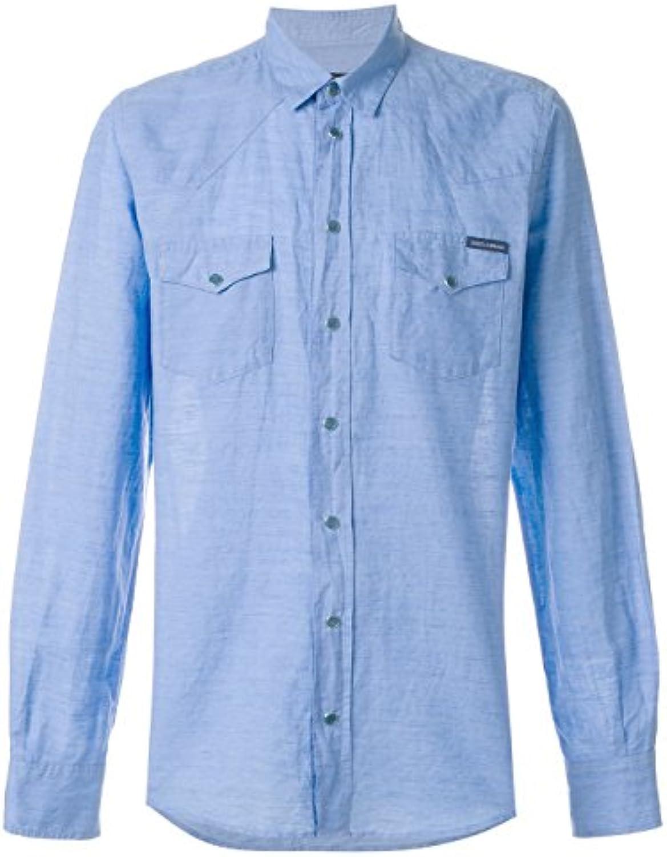 Dolce E Gabbana Hombre G5EX7TFU4GKB1581 Azul Claro Algodon Camisa